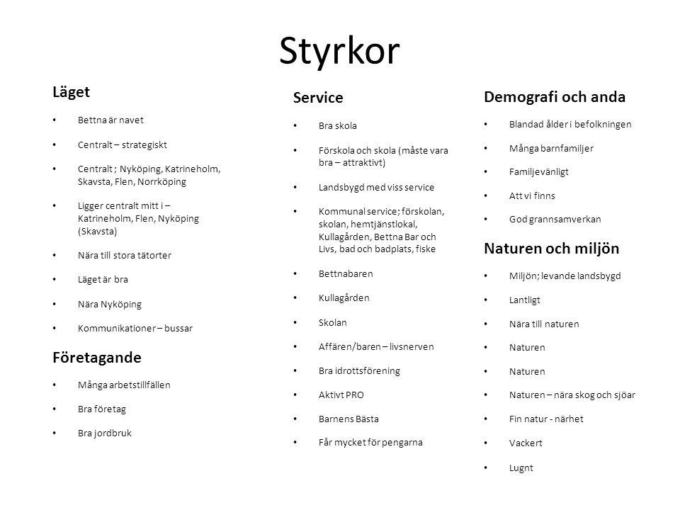 Styrkor Läget Bettna är navet Centralt – strategiskt Centralt ; Nyköping, Katrineholm, Skavsta, Flen, Norrköping Ligger centralt mitt i – Katrineholm,