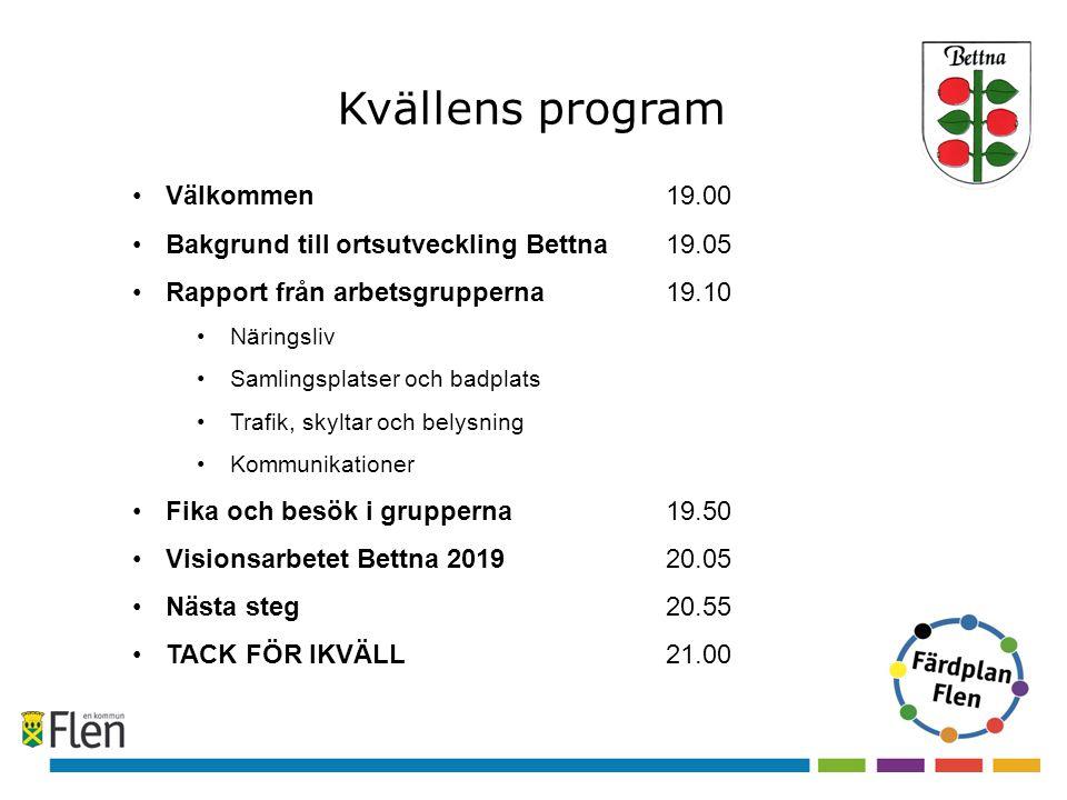 Kvällens program Välkommen 19.00 Bakgrund till ortsutveckling Bettna19.05 Rapport från arbetsgrupperna 19.10 Näringsliv Samlingsplatser och badplats T
