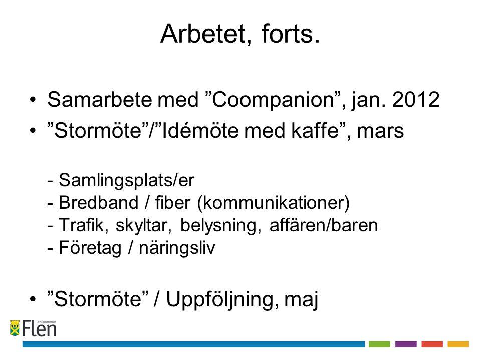 """Arbetet, forts. Samarbete med """"Coompanion"""", jan. 2012 """"Stormöte""""/""""Idémöte med kaffe"""", mars - Samlingsplats/er - Bredband / fiber (kommunikationer) - T"""