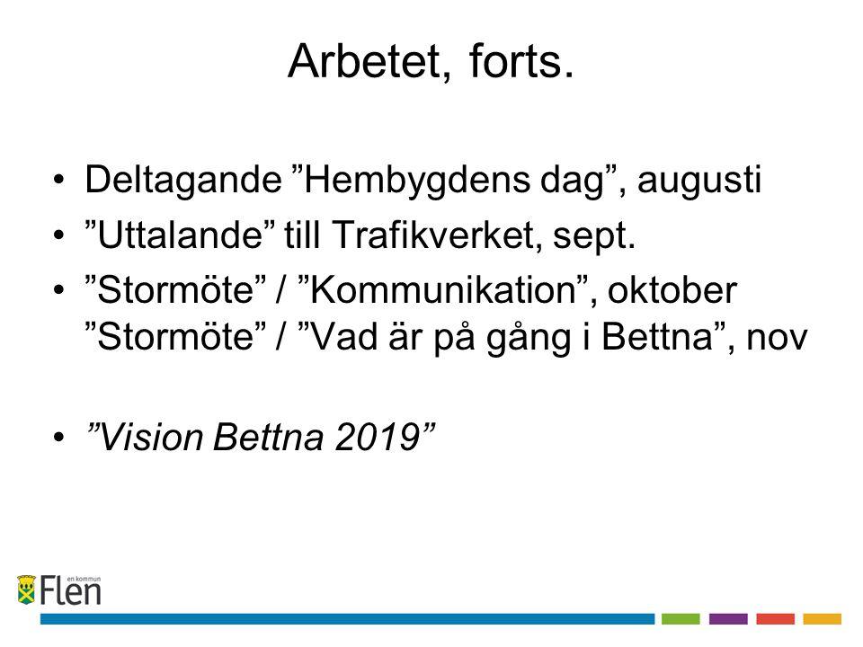 """Arbetet, forts. Deltagande """"Hembygdens dag"""", augusti """"Uttalande"""" till Trafikverket, sept. """"Stormöte"""" / """"Kommunikation"""", oktober """"Stormöte"""" / """"Vad är p"""