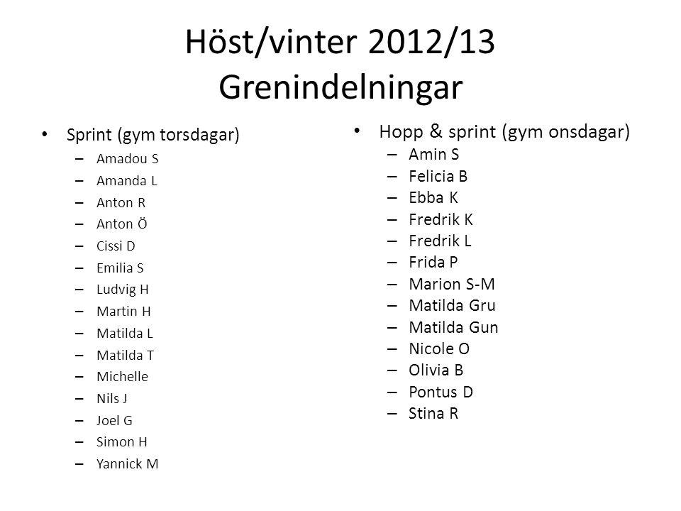 Höst/vinter 2012/13 Grenindelningar Sprint (gym torsdagar) – Amadou S – Amanda L – Anton R – Anton Ö – Cissi D – Emilia S – Ludvig H – Martin H – Mati