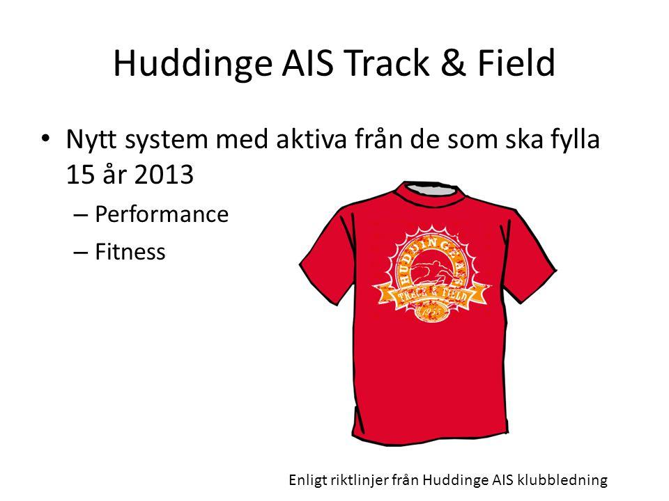 Huddinge AIS Track & Field Nytt system med aktiva från de som ska fylla 15 år 2013 – Performance – Fitness Enligt riktlinjer från Huddinge AIS klubble