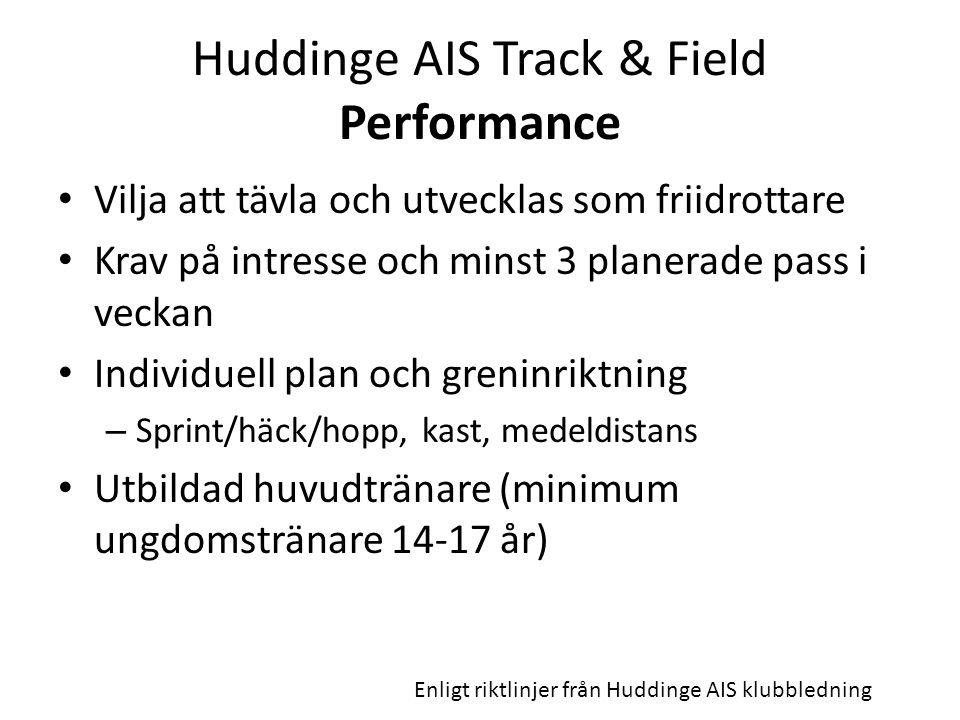 Huddinge AIS Track & Field Performance Vilja att tävla och utvecklas som friidrottare Krav på intresse och minst 3 planerade pass i veckan Individuell