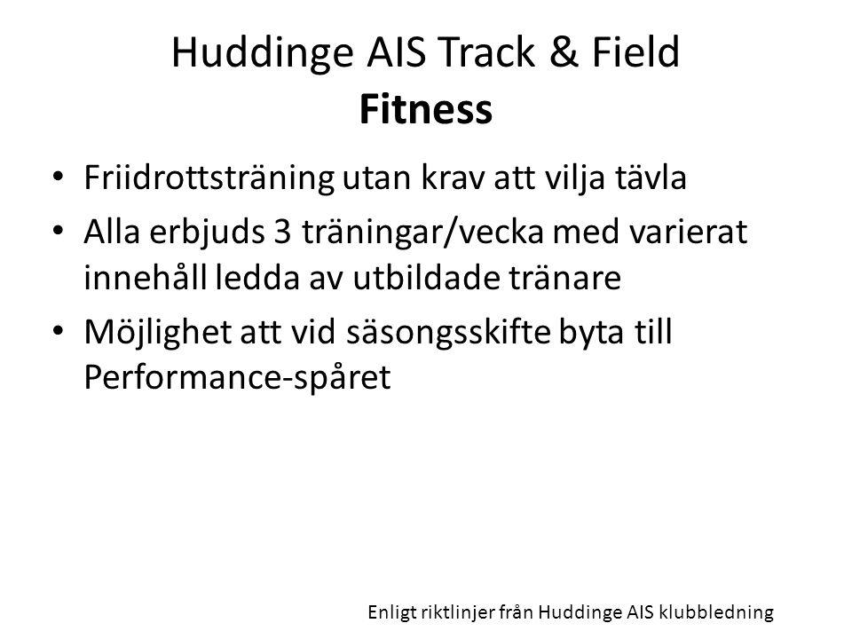 Huddinge AIS Track & Field Fitness Friidrottsträning utan krav att vilja tävla Alla erbjuds 3 träningar/vecka med varierat innehåll ledda av utbildade