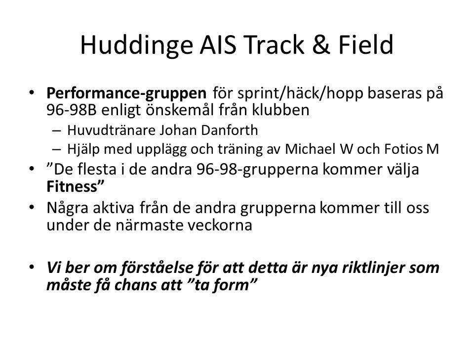 Huddinge AIS Track & Field Performance-gruppen för sprint/häck/hopp baseras på 96-98B enligt önskemål från klubben – Huvudtränare Johan Danforth – Hjä