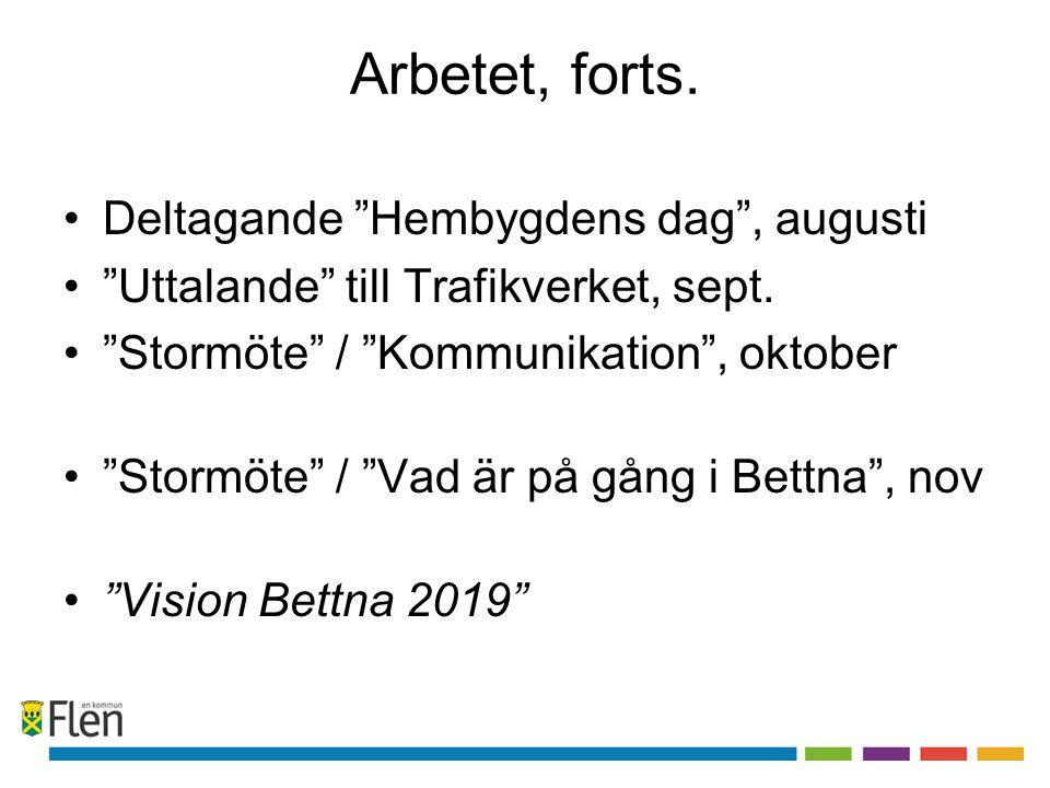 Arbetet, forts. Deltagande Hembygdens dag , augusti Uttalande till Trafikverket, sept.