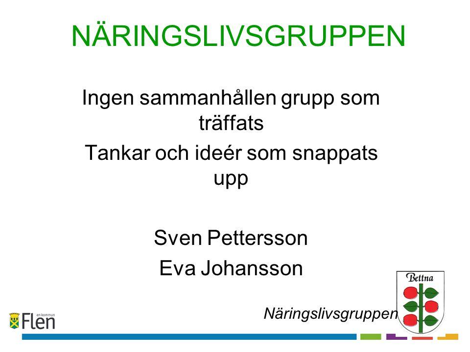 NÄRINGSLIVSGRUPPEN Ingen sammanhållen grupp som träffats Tankar och ideér som snappats upp Sven Pettersson Eva Johansson Näringslivsgruppen