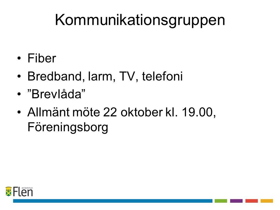 Kommunikationsgruppen Fiber Bredband, larm, TV, telefoni Brevlåda Allmänt möte 22 oktober kl.