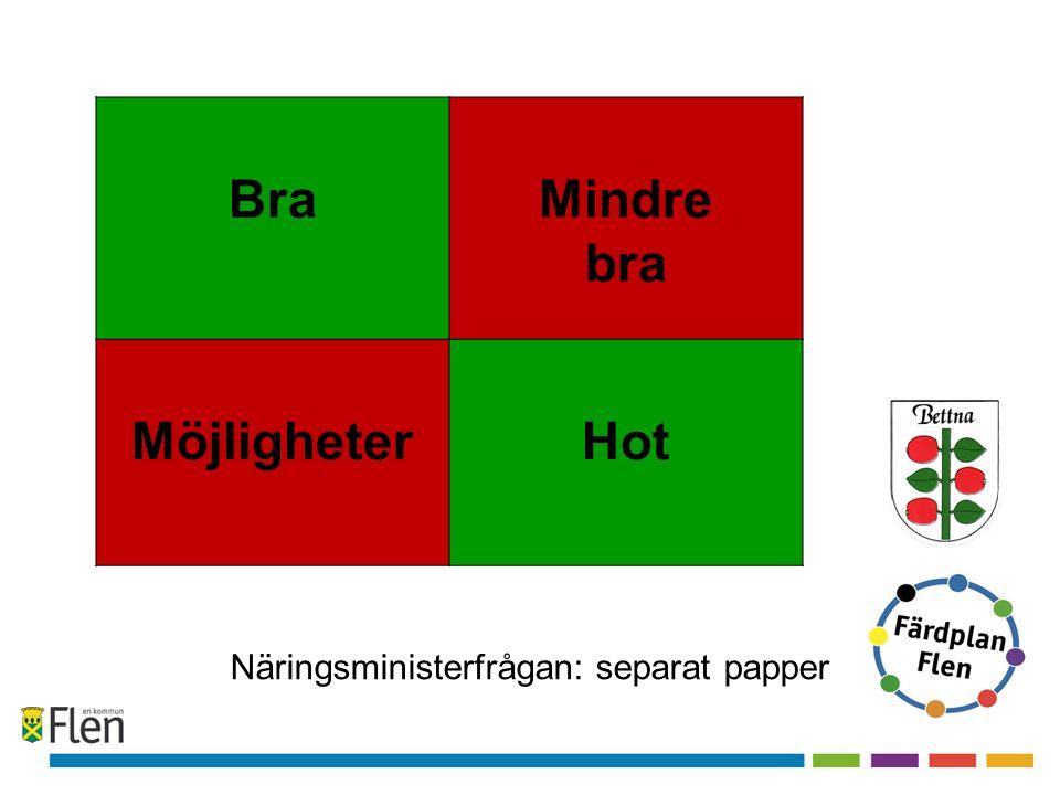 BraMindre bra MöjligheterHot Näringsministerfrågan: separat papper