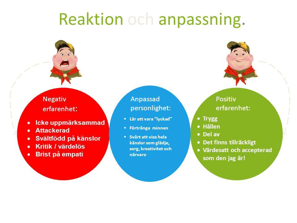 """Reaktion och anpassning. Negativ erfarenhet : Positiv erfarenhet: Lär att vara """"lyckad"""" Förtränga minnen Svårt att visa hela känslor som glädje, sorg,"""