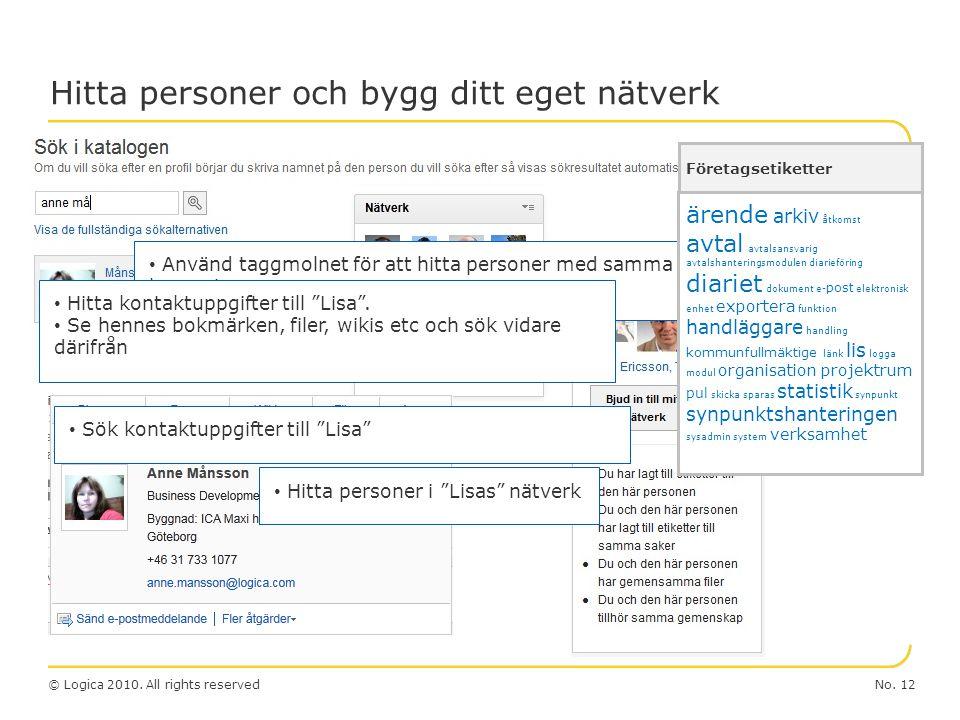 """No. 12© Logica 2010. All rights reserved Hitta personer och bygg ditt eget nätverk Sök kontaktuppgifter till """"Lisa"""" Använd taggmolnet för att hitta pe"""