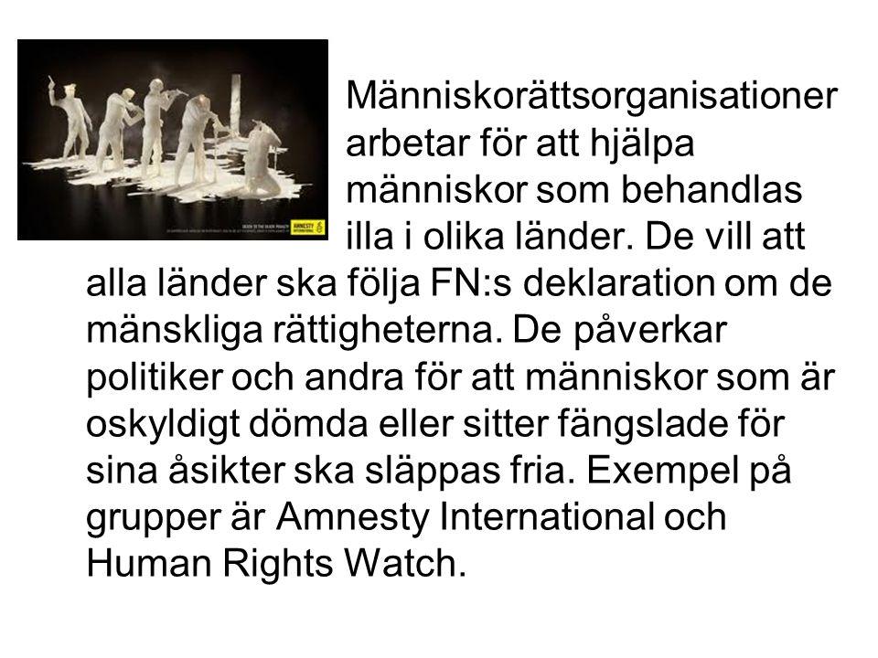 Människorättsorganisationer arbetar för att hjälpa människor som behandlas illa i olika länder. De vill att alla länder ska följa FN:s deklaration om