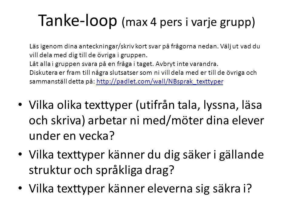 Tanke-loop (max 4 pers i varje grupp) Vilka olika texttyper (utifrån tala, lyssna, läsa och skriva) arbetar ni med/möter dina elever under en vecka.