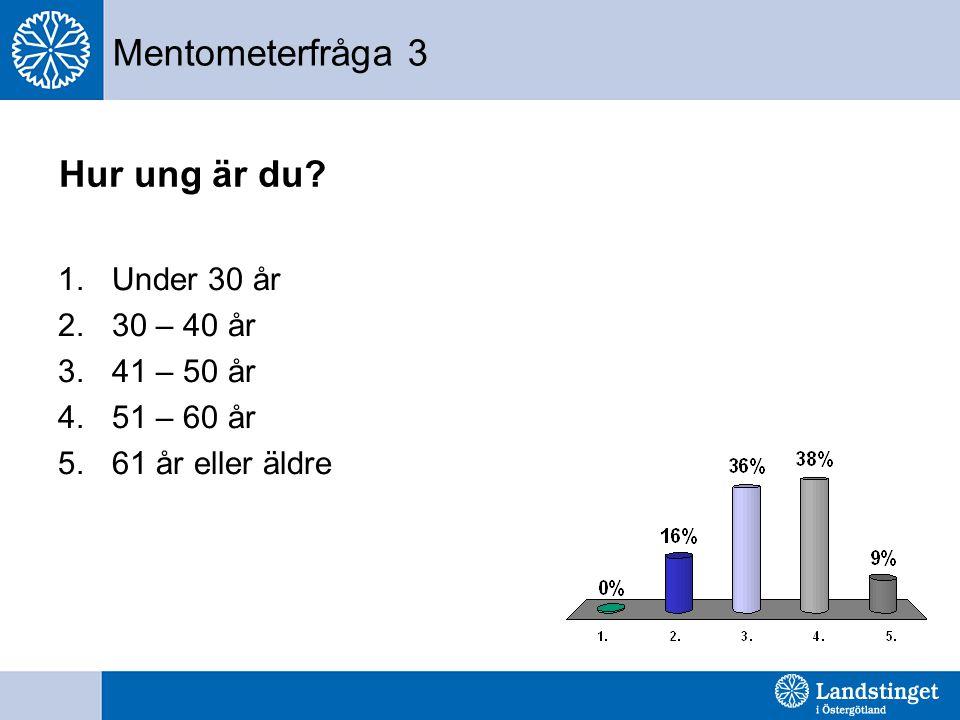 Mentometerfråga 3 Hur ung är du? 1.Under 30 år 2.30 – 40 år 3.41 – 50 år 4.51 – 60 år 5.61 år eller äldre
