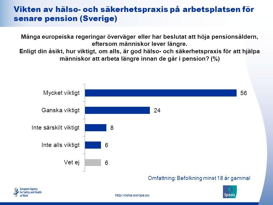 19 http://osha.europa.eu Omfattning: Befolkning minst 18 år gammal Vikten av hälso- och säkerhetspraxis på arbetsplatsen för senare pension (Sverige)