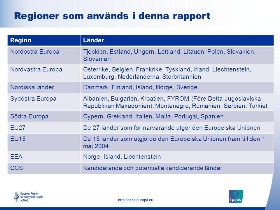 5 http://osha.europa.eu Click to add text here Regioner som används i denna rapport Note: insert graphs, tables, images here RegionLänder Nordöstra Eu