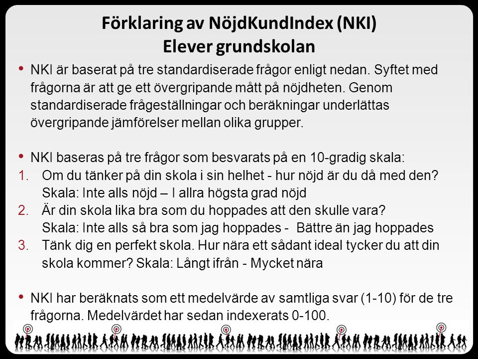 Förklaring av NöjdKundIndex (NKI) Elever grundskolan NKI är baserat på tre standardiserade frågor enligt nedan. Syftet med frågorna är att ge ett över