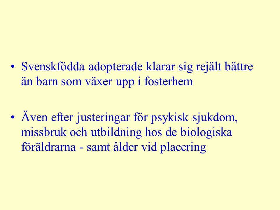 Svenskfödda adopterade klarar sig rejält bättre än barn som växer upp i fosterhem Även efter justeringar för psykisk sjukdom, missbruk och utbildning hos de biologiska föräldrarna - samt ålder vid placering