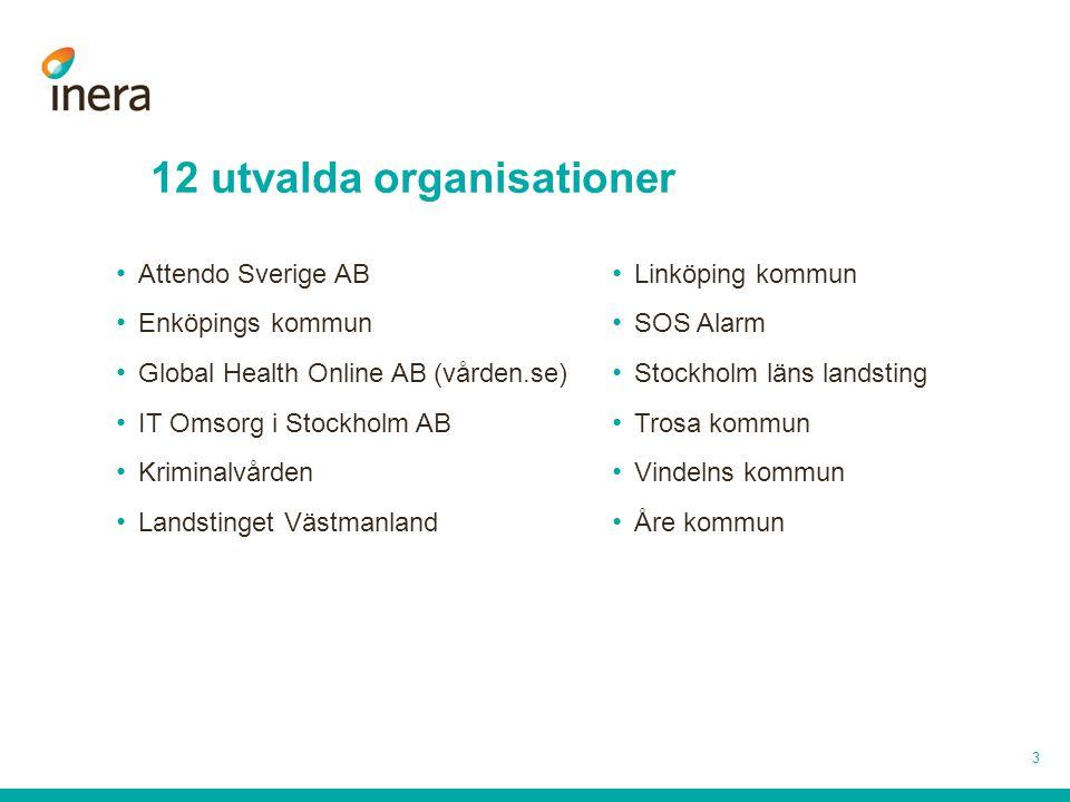 3 12 utvalda organisationer Attendo Sverige AB Enköpings kommun Global Health Online AB (vården.se) IT Omsorg i Stockholm AB Kriminalvården Landstinge