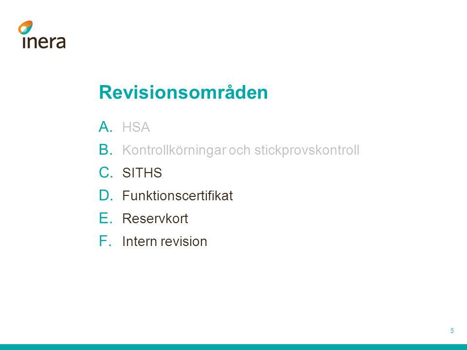 Revisionsområden 5 A. HSA B. Kontrollkörningar och stickprovskontroll C. SITHS D. Funktionscertifikat E. Reservkort F. Intern revision