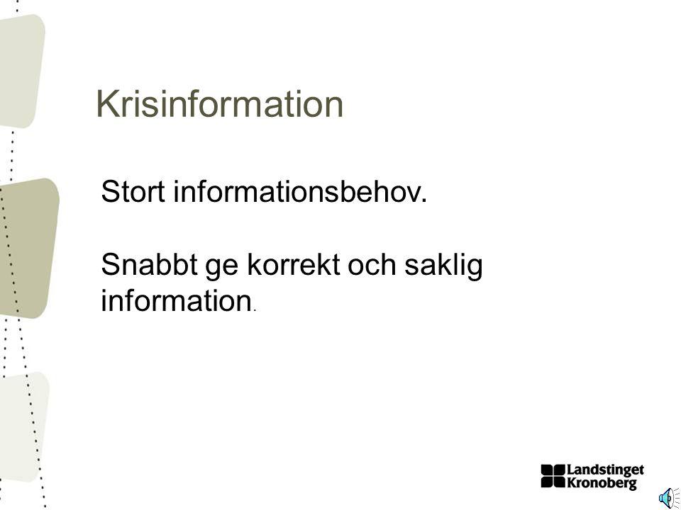 Krisinformation Stort informationsbehov. Snabbt ge korrekt och saklig information.
