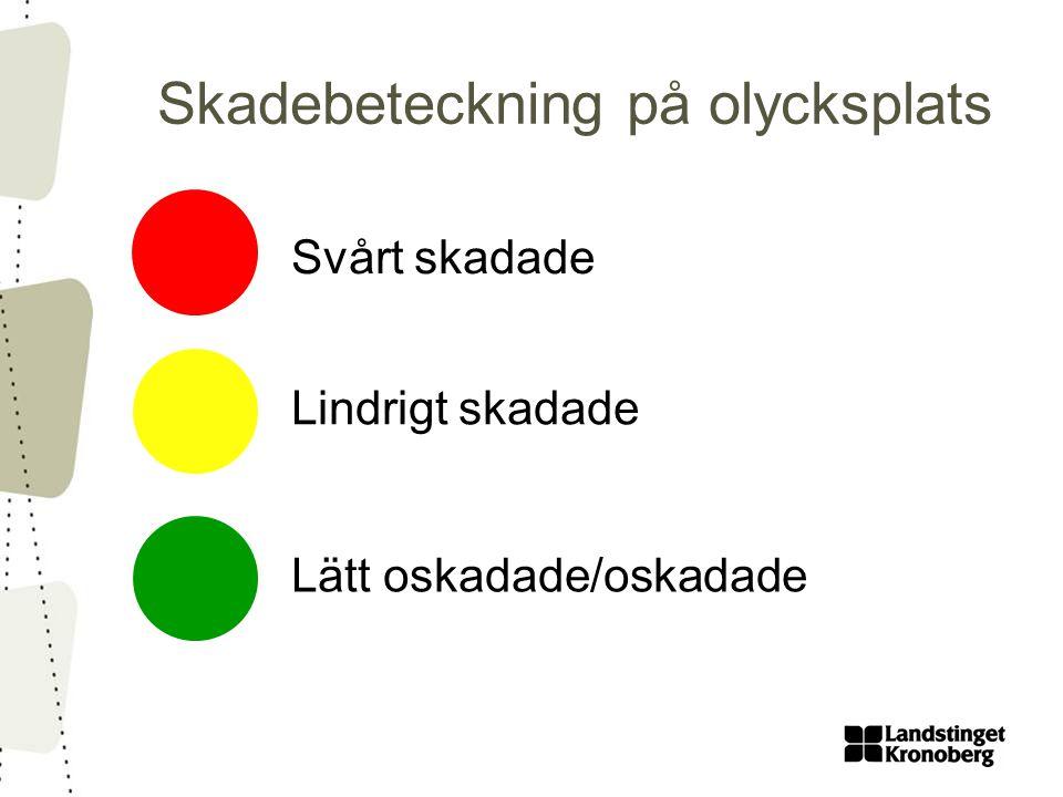 Skadebeteckning på olycksplats Svårt skadade Lindrigt skadade Lätt oskadade/oskadade