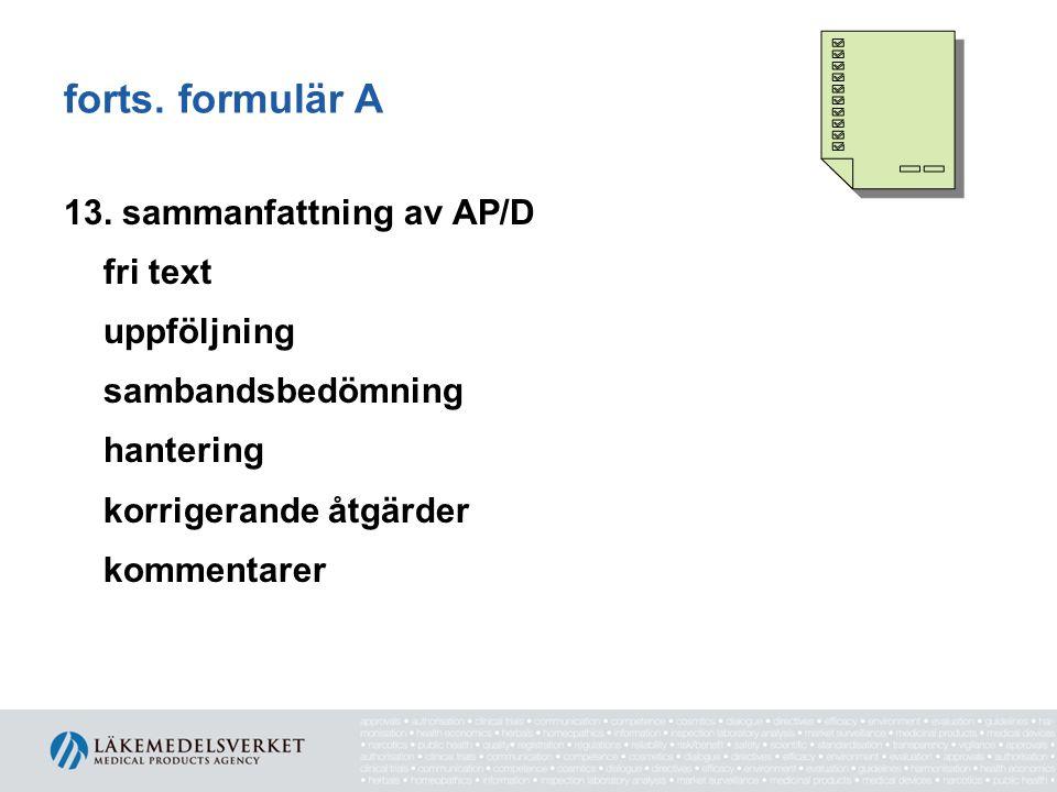 forts. formulär A 13.