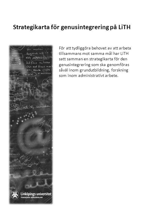 Strategikarta för genusintegrering på LiTH För att tydliggöra behovet av att arbeta tillsammans mot samma mål har LiTH satt samman en strategikarta fö