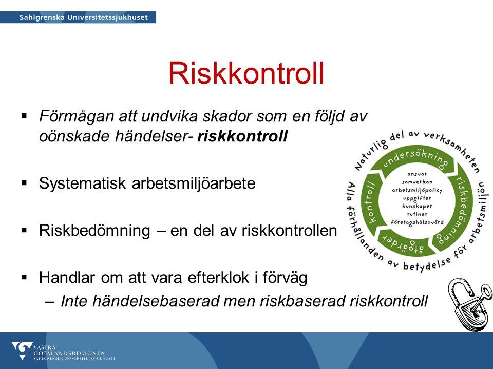 Riskkontroll  Förmågan att undvika skador som en följd av oönskade händelser- riskkontroll  Systematisk arbetsmiljöarbete  Riskbedömning – en del a