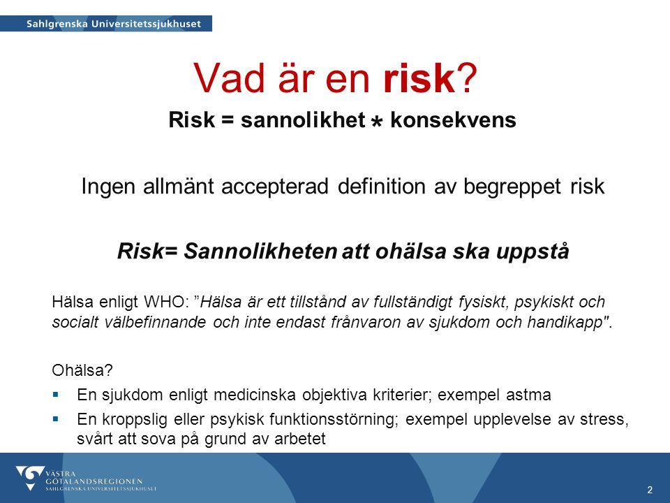 Vad är en risk? 2 Risk = sannolikhet * konsekvens Ingen allmänt accepterad definition av begreppet risk Risk= Sannolikheten att ohälsa ska uppstå Häls
