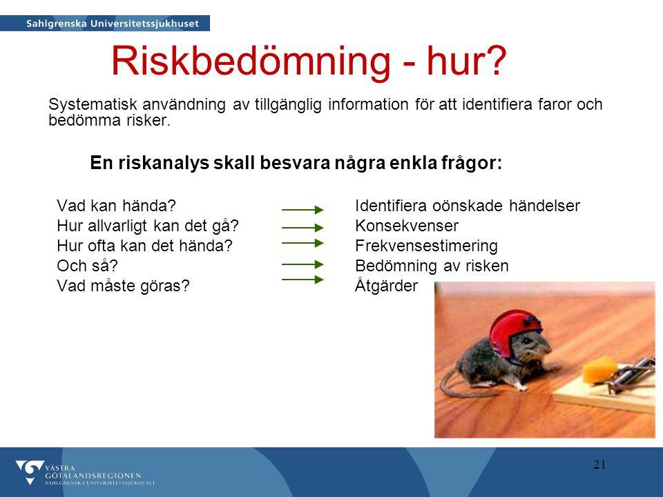 21 Riskbedömning - hur? Systematisk användning av tillgänglig information för att identifiera faror och bedömma risker. En riskanalys skall besvara nå