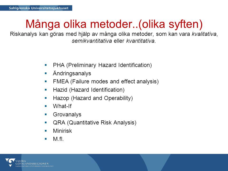Många olika metoder..(olika syften) Riskanalys kan göras med hjälp av många olika metoder, som kan vara kvalitativa, semikvantitativa eller kvantitati