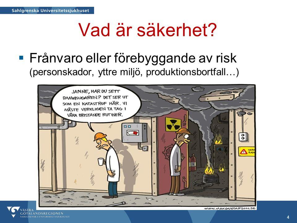 Vad är säkerhet? 4  Frånvaro eller förebyggande av risk (personskador, yttre miljö, produktionsbortfall…)