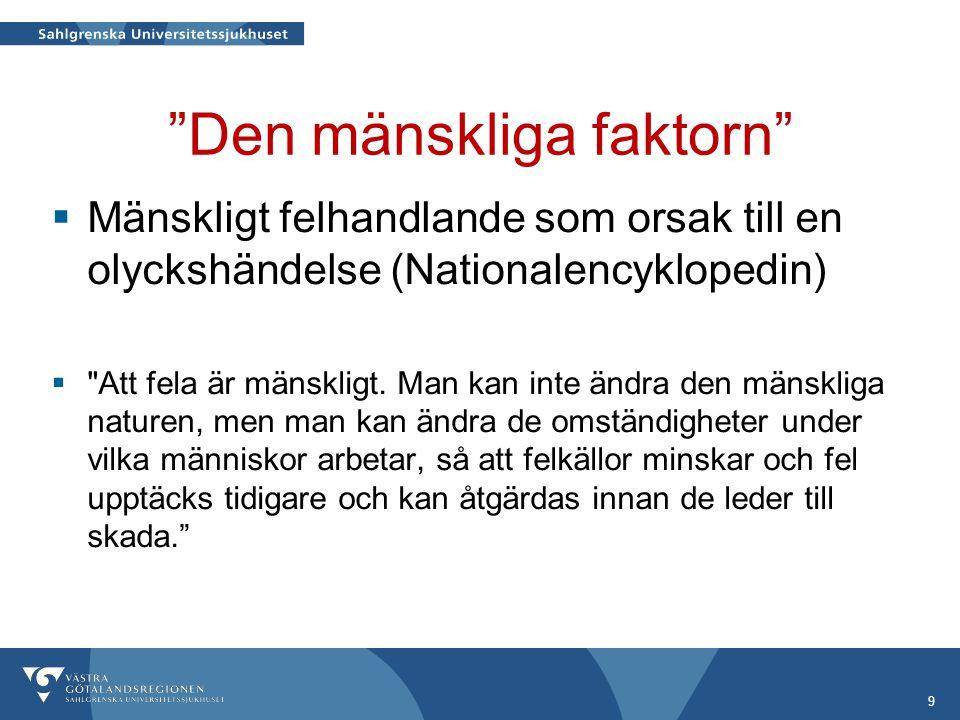 """""""Den mänskliga faktorn""""  Mänskligt felhandlande som orsak till en olyckshändelse (Nationalencyklopedin) """