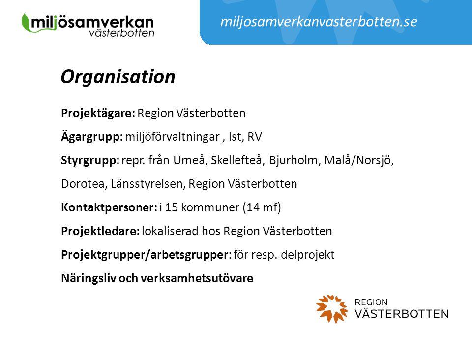 miljosamverkanvasterbotten.se Organisation Projektägare: Region Västerbotten Ägargrupp: miljöförvaltningar, lst, RV Styrgrupp: repr. från Umeå, Skelle
