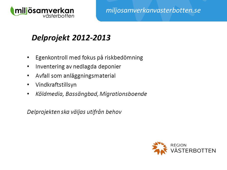 Delprojekt 2012-2013 Egenkontroll med fokus på riskbedömning Inventering av nedlagda deponier Avfall som anläggningsmaterial Vindkraftstillsyn Köldmed