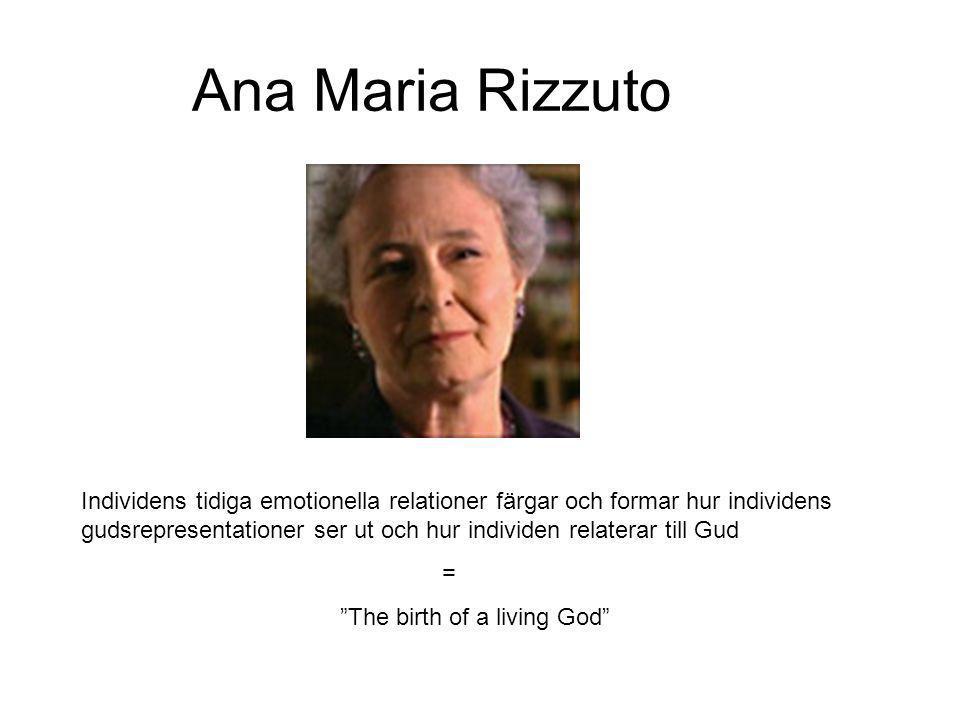 Ana Maria Rizzuto Individens tidiga emotionella relationer färgar och formar hur individens gudsrepresentationer ser ut och hur individen relaterar ti