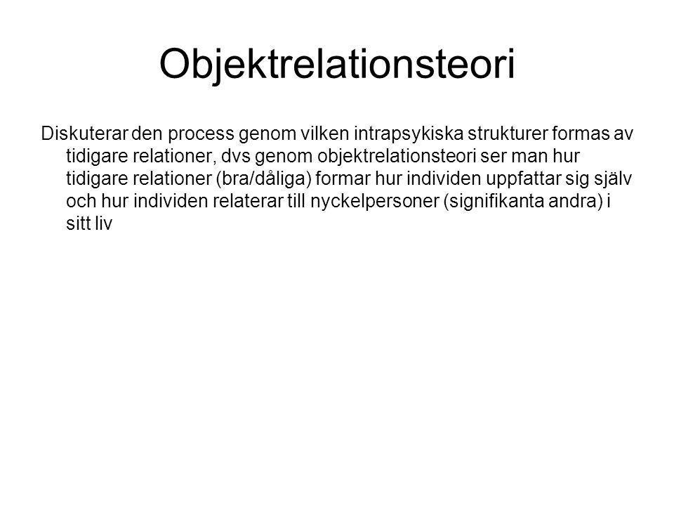Objektrelationsteori Diskuterar den process genom vilken intrapsykiska strukturer formas av tidigare relationer, dvs genom objektrelationsteori ser ma