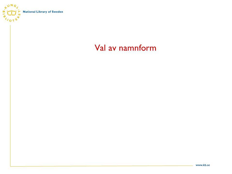 www.kb.se Val av namnform