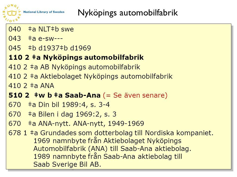 www.kb.se Nyköpings automobilfabrik 040 ‡a NLT‡b swe 043 ‡a e-sw--- 045 ‡b d1937‡b d1969 110 2 ‡a Nyköpings automobilfabrik 410 2 ‡a AB Nyköpings automobilfabrik 410 2 ‡a Aktiebolaget Nyköpings automobilfabrik 410 2 ‡a ANA 510 2 ‡w b ‡a Saab-Ana (= Se även senare) 670 ‡a Din bil 1989:4, s.