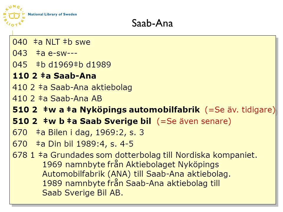 www.kb.se Saab-Ana 040 ‡a NLT ‡b swe 043 ‡a e-sw--- 045 ‡b d1969‡b d1989 110 2 ‡a Saab-Ana 410 2 ‡a Saab-Ana aktiebolag 410 2 ‡a Saab-Ana AB 510 2 ‡w a ‡a Nyköpings automobilfabrik (=Se äv.