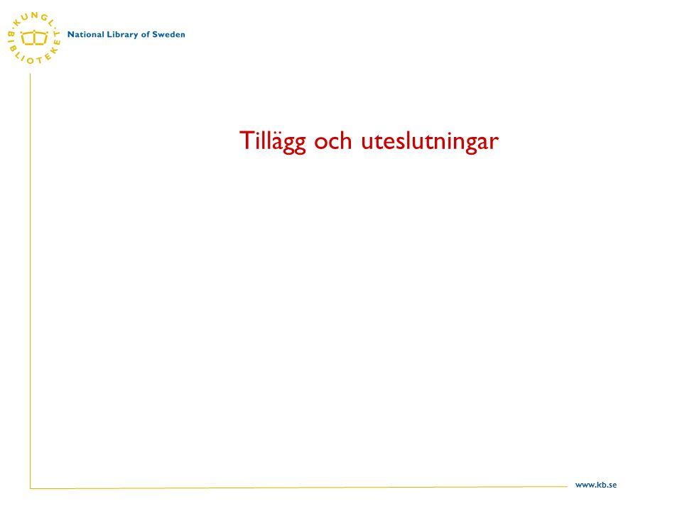 www.kb.se Tillägg och uteslutningar