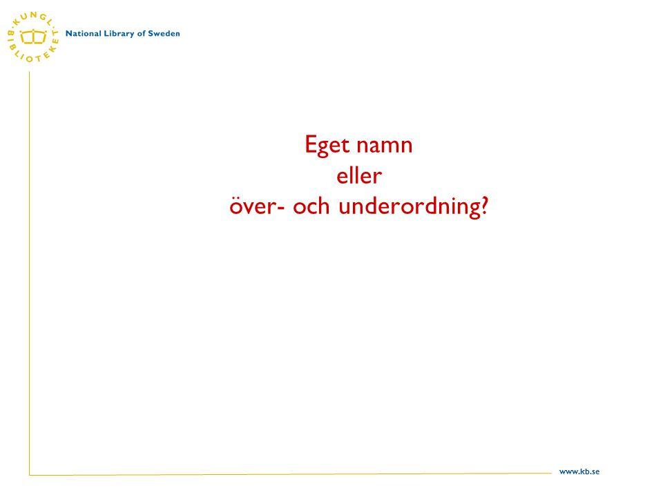 www.kb.se Eget namn eller över- och underordning
