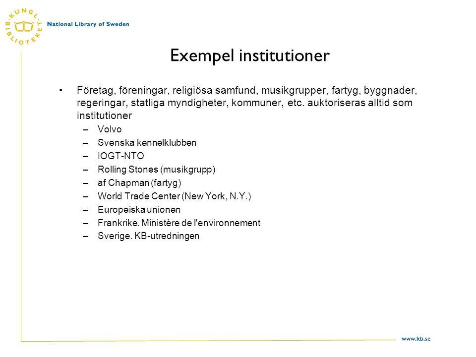 www.kb.se Svenska officiella organ Alla statliga myndigheter på central och regional nivå som har instruktion (SFS).