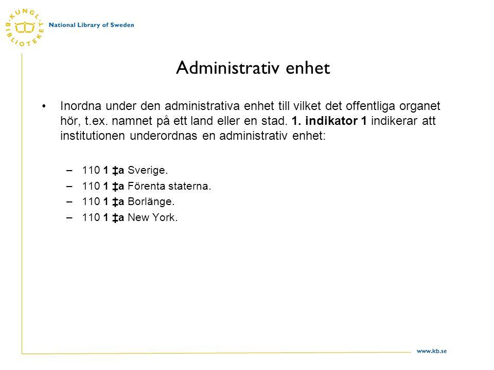 www.kb.se Administrativ enhet Inordna under den administrativa enhet till vilket det offentliga organet hör, t.ex. namnet på ett land eller en stad. 1