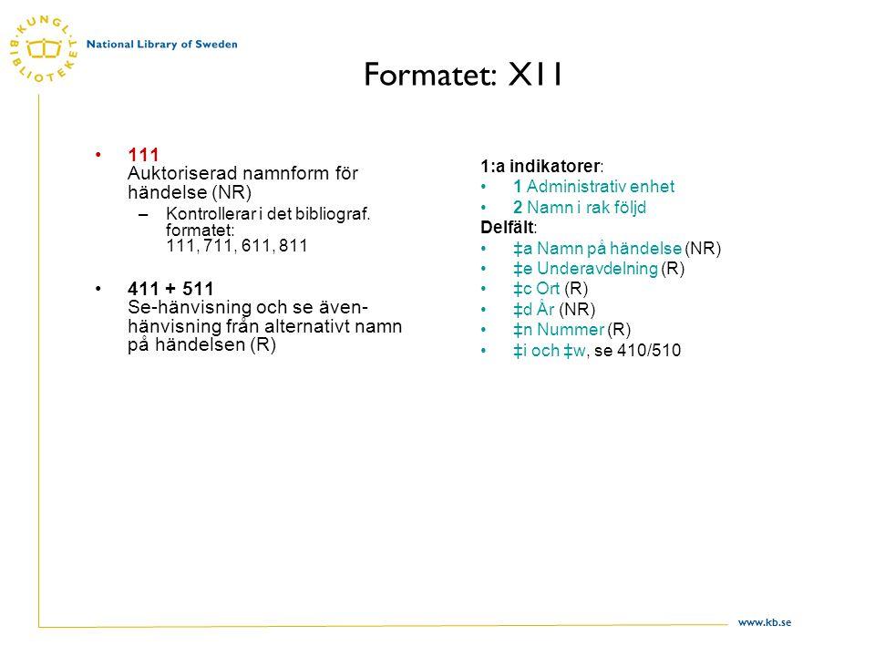 www.kb.se Formatet: X11 111 Auktoriserad namnform för händelse (NR) –Kontrollerar i det bibliograf. formatet: 111, 711, 611, 811 411 + 511 Se-hänvisni