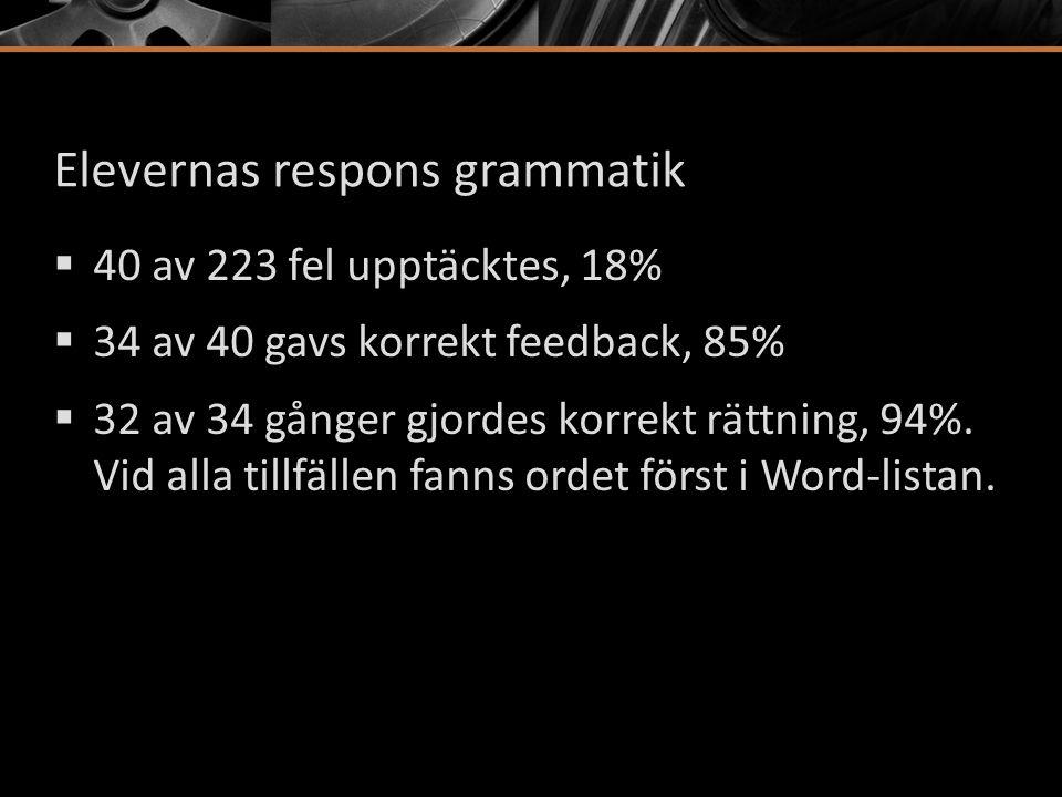 Elevernas respons grammatik  40 av 223 fel upptäcktes, 18%  34 av 40 gavs korrekt feedback, 85%  32 av 34 gånger gjordes korrekt rättning, 94%. Vid