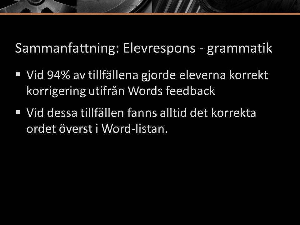 Sammanfattning: Elevrespons - grammatik  Vid 94% av tillfällena gjorde eleverna korrekt korrigering utifrån Words feedback  Vid dessa tillfällen fan