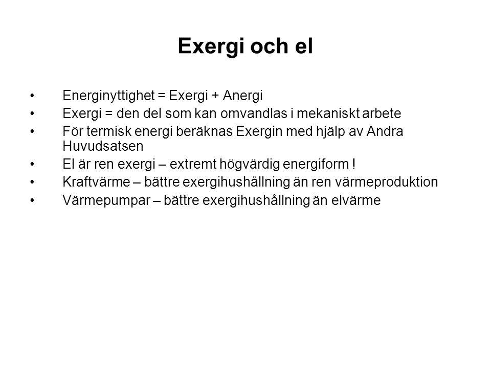 Exergi och el Energinyttighet = Exergi + Anergi Exergi = den del som kan omvandlas i mekaniskt arbete För termisk energi beräknas Exergin med hjälp av