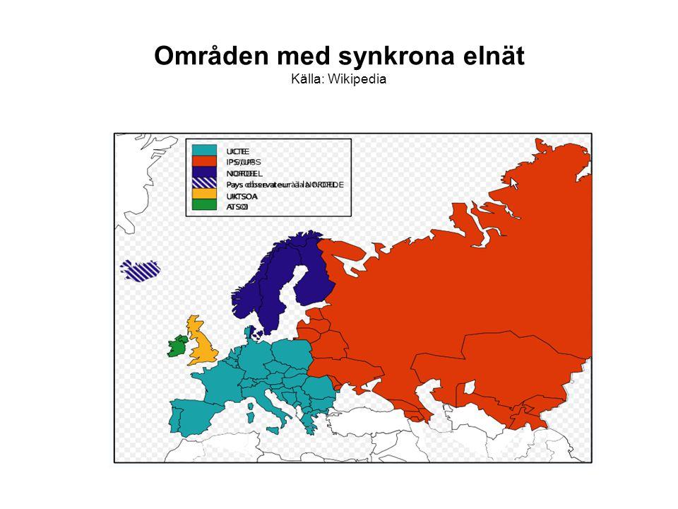 Områden med synkrona elnät Källa: Wikipedia